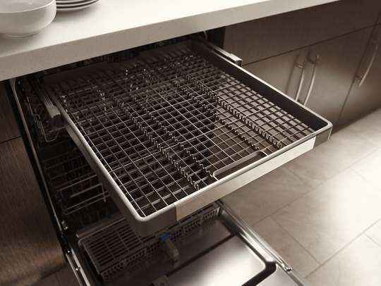 stainless steel tub dishwasher with third level rack | whirlpool
