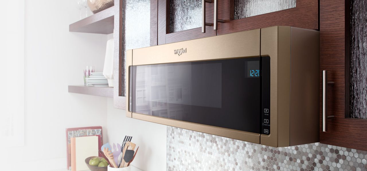 Low profile microwaves with under-cabinet mounting from Whirlpool.