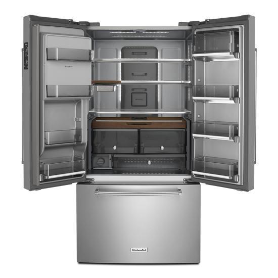 "Model: KRFC704FPS   KitchenAid 23.8 cu. ft. 36"" Counter-Depth French Door Platinum Interior Refrigerator with PrintShield™ Finish"