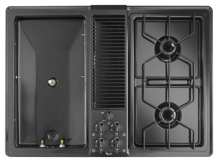 Self Venting Cooktops ~ Inch gas cooktop with downdraft ventilation system