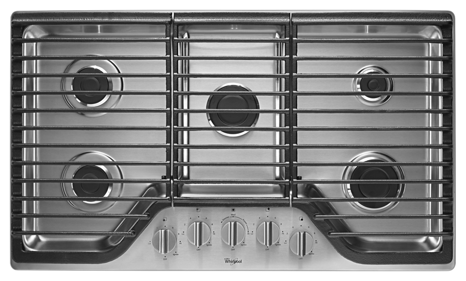 36 Inch Cooktops ~ Inch burner gas cooktop with fifth whirlpool