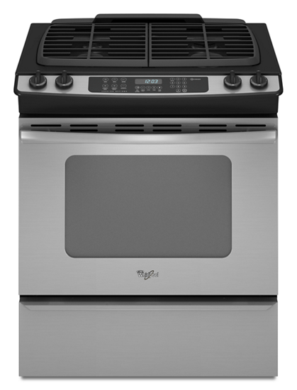 lg lde4415st summit 30 inch stainless steel slide in gas range with four sealed burners black ice image