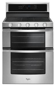 60 Cu Ft Gas Double Oven Range with EZ2Lift Hinged Grates